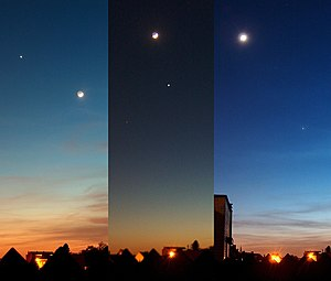 Appulse - The Moon and Venus in the evening sky on three consecutive days, showing an appulse in the centre image.
