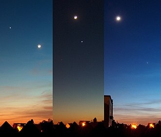Appulse - The Moon and Venus in the evening sky on three consecutive days. The centre image shows an appulse between the two objects.