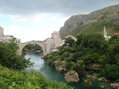View of the Old Mostar in Bosnia and Herzegovina including Stari Most (Old Bridge)