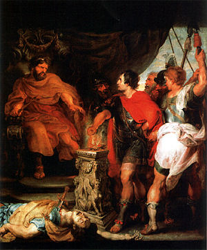 Lars Porsena - Mucius Scaevola before Porsenna (1620s) by Rubens and van Dyck.