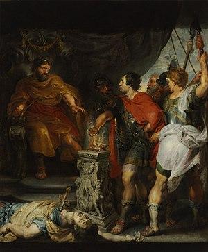 Lars Porsena - Mucius Scaevola before Porsenna (1620s) by Rubens and van Dyck.