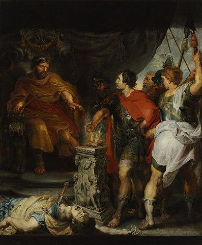 """Питер Пауль Рубенс и Антонис Ван Дейк. «Муций Сцевола и Порсенна», начало 1620-х. Литературным источником для сюжета картины послужил Ливий. «Когда царь, горя гневом и страшась опасности, велал вокруг развести костры, суля ему [Муцию] пытку, если он не признается тут же, что скрывается за его тёмной угрозой, сказал ему Муций: """"Знай же, сколь мало ценят плоть те, кто чает великой славы!"""" — и неспешно положил правую руку в огонь возжённый на жертвеннике. И он жёг её будто ничего не чувствуя…»."""