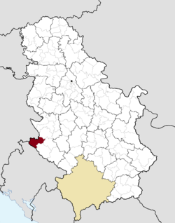Location of the municipality of Priboj within Serbia