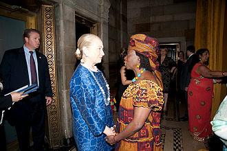 Musimbi Kanyoro - Hillary Rodham Clinton and Musimbi Kanyoro at the Global Fund For Women's Dinner in May 2013 in New York