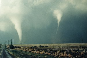 Tornado family - Twin tornadoes spawned from the same supercell in the Great Plains on September 28, 2010