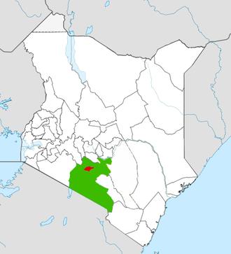 Nairobi County - Nairobi County (red) within Nairobi Metro (green)