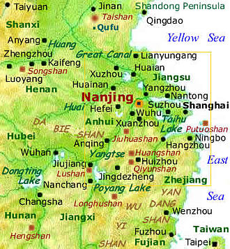 Nanjing Region - Lower Yangtze Basin and Eastern China. Nanjing Area - Lower Yangtse Valley & Eastern China Map.jpg