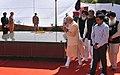 Narendra Modi paying homage at the samaadhi of 'Punjab Mata' (mother of Shaheed Bhagat Singh), at Hussainiwala, in Punjab. The Chief Minister of Punjab, Shri Parkash Singh Badal (2).jpg