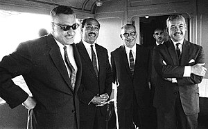 Ali Sabri - Sabri (third from left) with President Gamal Abdel Nasser (first from left), Vice President Anwar Sadat (second from left) and ASU leader Hussein el-Shafei (last from left), 1968