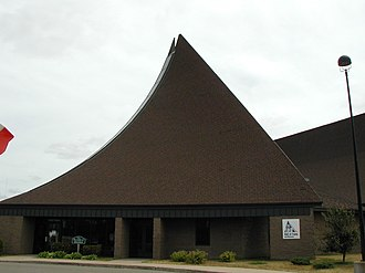 National Ski Hall of Fame - Side view of building shows its ski jump shape
