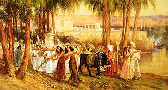 Festival - Procession in Honor of Isis depiction of the Egyptian Navigium Isidis festival by Frederick Arthur Bridgman (1902)