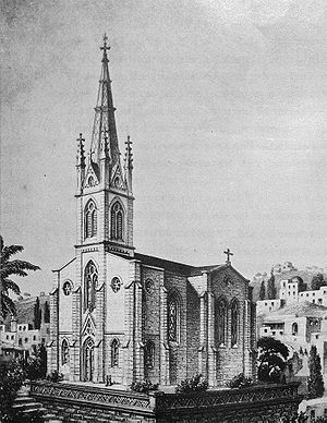 Christ Church, Nazareth - Drawing of the church showing the spire that was not built until 2014