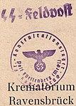 Nazi concentration camp ink stamp on postcard sent from Ravensbruck, SS-Feldpostbrief des Krematoriums in Ravensbrück (cropped).jpg