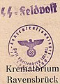 Nazi concentration camp ink stamp on postcard sent from Ravensbruck, SS-Feldpostbrief des Krematoriums in Ravensbrück (cropped).jpg