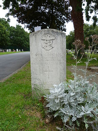 HMS Sheffield (D80) - The grave of Neil Goodall, cook on Sheffield, who died in the Argentine attack. Lavender Hill Cemetery, Enfield.