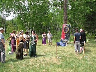 Heathenry in Canada - Folk gathering at Midgard Festival, Eganville Ontario for an offering to Nerthus after a procession. Summer 2010.