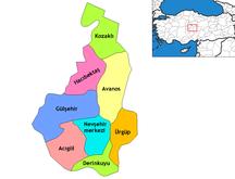 Provincia di Nevşehir-Distretti-Nevşehir districts