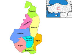 Location of Avanos within Nevşehir Province