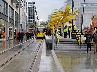 Exchange Square tram stop - Exchange Square tram stop on the day of opening.