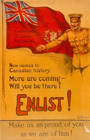 Canada in the World Wars and Interwar Years - A Canadian World War I recruiting poster