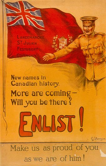 A Canadian recruiting poster featuring names of French battlefields (but an English text)