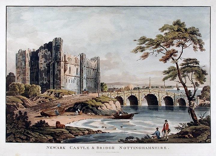 Newark Castle and bridge London Published by J Deeley, 95 Bewick St Soho, 1812 Coloured aquatint