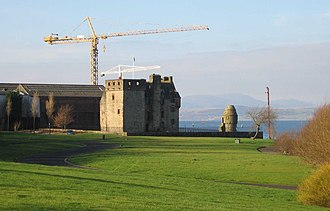 Newark Castle, Port Glasgow - The bypass road gives views over parkland formerly crowded with shipyards