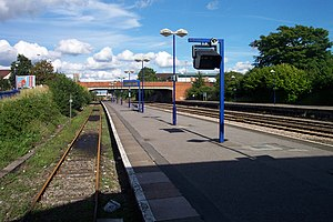 "Newbury railway station - The station looking to the east, with the ""Compton bay"" platform to the left"