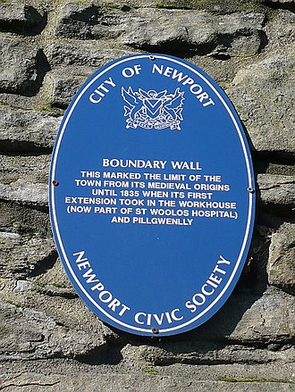 Newport Cathedral - Plaque on eastern wall surrounding the cathedral marking the boundary of the mediaeval borough