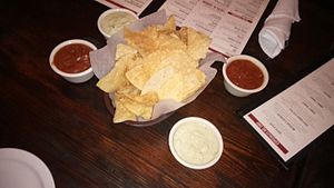 Ninfa's - Original Ninfa's chips, tomato salsa, and green sauce