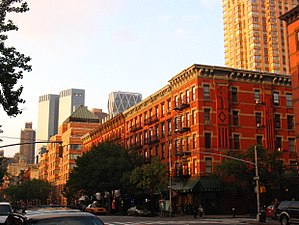 Hell's Kitchen, Manhattan - View from between 47th and 48th Streets on Ninth Avenue looking northeast toward Time Warner Center and Hearst Tower