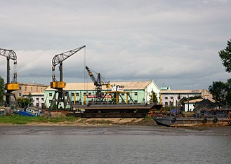Kangan Line - View of Sinŭiju Port from the river.