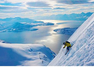 Ski mountaineering - Ski mountaineering descent on a Norwegian peak.