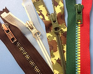 Zipper - Examples of special zippers with different tape materials, colors and patterns.