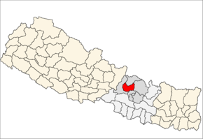 Nuwakot District i Bagmati Zone (grå) i Central Development Region (grå + lysegrå)