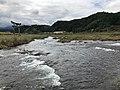 Ogatagawa River and torii of Ninomiya Shrine from Harajirinotaki Bridge 4.jpg