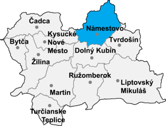 Babín - Location of Námestovo District in the Zilina Region