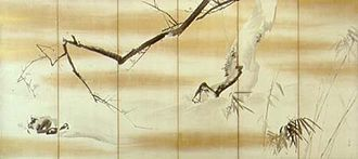 Shijō school - Pine, Bamboo, Plum, by Maruyama Ōkyo. One of two sixfold screens.