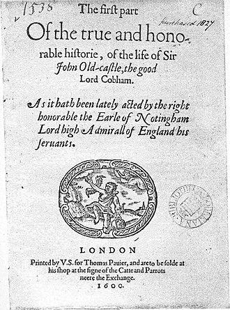 Sir John Oldcastle - Title page of Sir John Oldcastle Q1 (1600)
