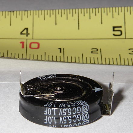A 5.5 volt supercapacitor is constructed out of two single cells, each rated to at least 2.75 volts, in series connection