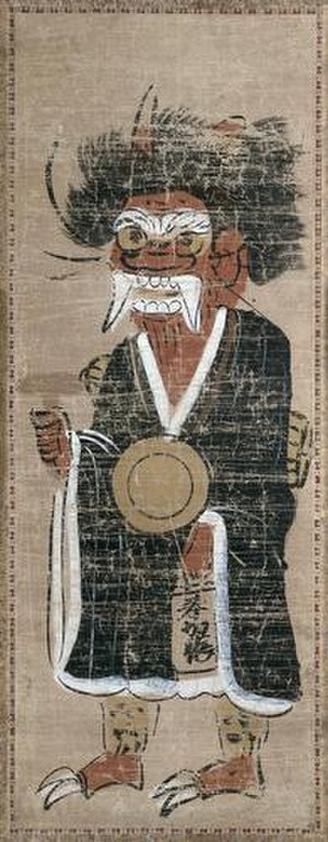 Oni - Oni in pilgrim's clothing. Tokugawa period. Hanging scroll, ink and color on paper. 59.2 cm x 22.1 cm