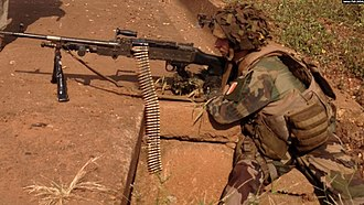 Central African Republic conflict under the Djotodia administration - French soldier in position in Bangui.
