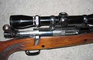 Bolt action - Opened bolt on a Winchester Model 70. The bolt has an engine turned finish.