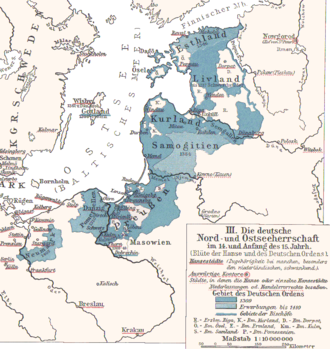 Bishopric of Pomesania - Situation of the Bishopric (abbrev. P.) within the Prussian Deutschordensland of 1410