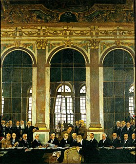 Orpen, William (Sir) (RA) - The Signing of Peace in the Hall of Mirrors, Versailles, 28th June 1919 - Google Art Project