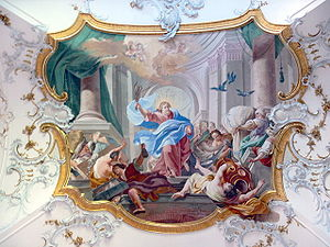Johann Jakob Zeiller - Johann Jakob Zeiller, Expulsion of the Moneychangers, fresco in entrance hall of the Ottobeuren Abbey, 1763