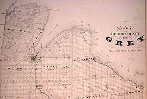 Owen Sound - Community of Owen Sound, at the base of the Owen Sound inlet, in 1880.