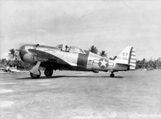"141st Air Refueling Squadron - 341st FS P-47D-23-RA Thunderbolt ""Miss Lorraine"" (s/n 42-27886) from the 341st Fighter Squadron, Tanauan Airfield, Leyte, Philippines, January 1945"