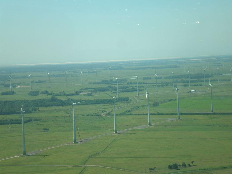 Vista aérea do Parque eólico de Osório em janeiro de 2007.
