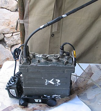 AN/PRC-77 Portable Transceiver - AN/PRC 77 radio and handset